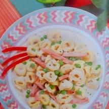 Receta tortellini con champiñones y jamón