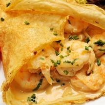 receta de Crepas de camarones, espinas y hierbas
